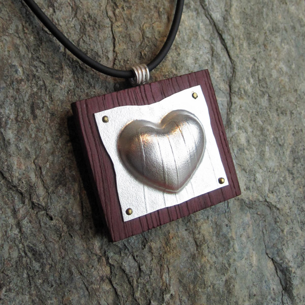 Heart Pendant - Silver and Cherry wood: $200