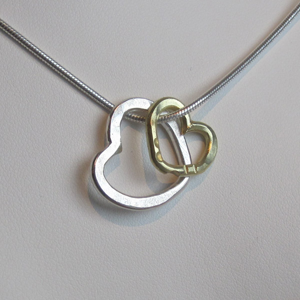 Two of a Kind Hearts - Silver and 14K Gold: $375